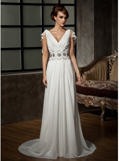 A-Line/Princess V-neck Court Train Chiffon Wedding Dress With Ruffle Beadwork Appliques