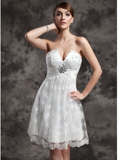 Empire Sweetheart Knee-Length Charmeuse Lace Wedding Dress With Ruffle Beadwork Sequins
