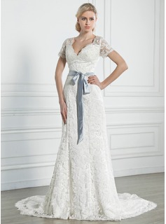 A-Line/Princess V-neck Chapel Train Satin Lace Wedding Dress With Sashes