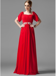 A-Line/Princess Square Neckline Floor-Length Chiffon Holiday Dress With Ruffle Beading