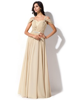 A-Line/Princess Off-the-Shoulder Floor-Length Chiffon Charmeuse Lace Evening Dress With Ruffle Beading Sequins