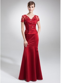 Trumpet/Mermaid V-neck Floor-Length Satin Mother of the Bride Dress With Lace Beading