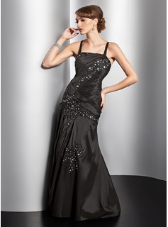 A-Line/Princess Square Necklin Floor-Length Taffeta Evening Dress With Ruffle Lace Beading (017014828)
