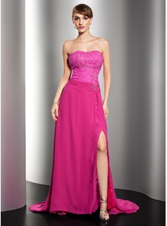 A-Line/Princess Sweetheart Court Train Chiffon Lace Evening Dress With Ruffle Beading (017014545)
