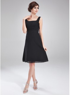 A-Line/Princess Square Neckline Knee-Length Chiffon Cocktail Dress With Ruffle (016021271)