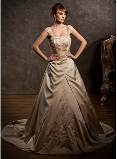 A-Line/Princess Sweetheart Court Train Satin Wedding Dress With Embroidery Ruffle Beadwork