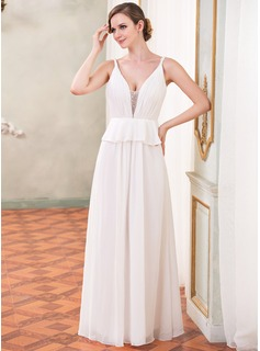 A-Line/Princess V-neck Watteau Train Chiffon Tulle Evening Dress With Beading Cascading Ruffles