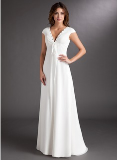 A-Line/Princess V-neck Sweep Train Chiffon Wedding Dress With Ruffle Beadwork