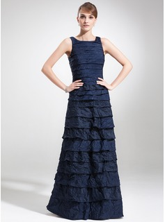 Sheath/Column Square Neckline Floor-Length Taffeta Mother of the Bride Dress With Ruffle