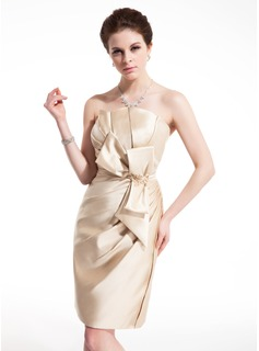 Sheath Scalloped Neck Knee-Length Satin Cocktail Dress With Ruffle Lace Beading (016021221)