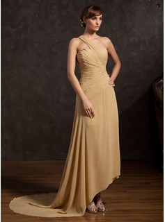 A-Line/Princess One-Shoulder Asymmetrical Chiffon Mother of the Bride Dress With Ruffle