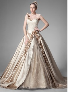 Ball-Gown One-Shoulder Chapel Train Satin Lace Wedding Dress With Ruffle Beading Flower
