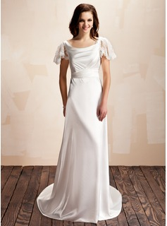 A-Line/Princess Cowl Neck Court Train Charmeuse Wedding Dress With Ruffle Lace Bow(s)