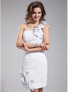 Sheath/Column One-Shoulder Knee-Length Chiffon Cocktail Dress With Ruffle Lace Beading Flower(s)