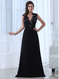 A-Line/Princess V-neck Floor-Length Chiffon Mother of the Bride Dress With Lace Beading