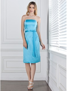 Sheath/Column Strapless Knee-Length Satin Bridesmaid Dress With Sash Bow