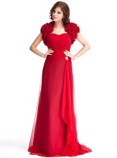 A-Line/Princess Sweetheart Sweep Train Chiffon Evening Dress With Ruffle Beading