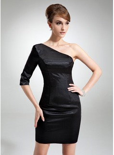 Sheath One-Shoulder Short/Mini Charmeuse Cocktail Dress With Ruffle (016008803)
