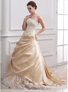 A-Line/Princess Strapless Cathedral Train Taffeta Tulle Wedding Dress With Ruffle Lace Beading