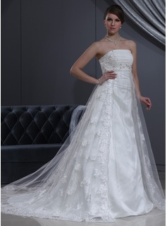 Empire Strapless Chapel Train Tulle Charmeuse Lace Wedding Dress With Beading