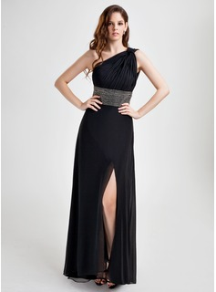 A-Line/Princess One-Shoulder Floor-Length Chiffon Holiday Dress With Ruffle Beading (020015772)