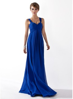 Empire Sweetheart Floor-Length Chiffon Holiday Dress With Ruffle (020025941)