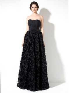 A-Line/Princess Sweetheart Floor-Length Chiffon Lace Prom Dress With Ruffle Beading Flower(s)
