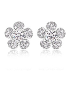 Flower Shaped Zircon/Platinum Plated Ladies' Earrings