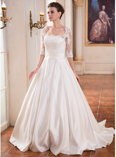 Ball-Gown Square Neckline Sweep Train Satin Wedding Dress With Ruffle Lace Beading Sequins
