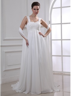 Empire Sweetheart Watteau Train Chiffon Wedding Dress With Lace Beadwork (002011765)