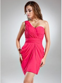 Sheath One-Shoulder Short/Mini Chiffon Bridesmaid Dress With Ruffle (007024296)
