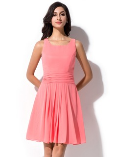 A-Line/Princess Square Neckline Short/Mini Chiffon Bridesmaid Dress With Ruffle