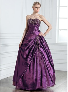 Ball-Gown Sweetheart Floor-Length Taffeta Tulle Quinceanera Dress With Embroidered Beading