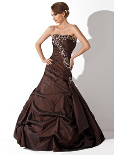 A-Line/Princess Sweetheart Floor-Length Taffeta Quinceanera Dress With Ruffle Beading Sequins