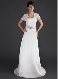 Sheath/Column Sweetheart Court Train Satin Wedding Dress With Sashes (002004549)