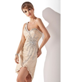 Sheath One-Shoulder Knee-Length Lace Cocktail Dress With Beading (016005852)