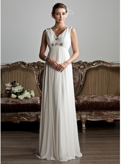 A-Line/Princess V-neck Floor-Length Chiffon Tulle Wedding Dress With Ruffle Beading