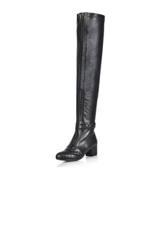Real Leather Low Heel Over The Knee Boots shoes