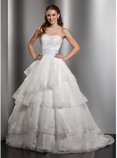 Ball-Gown Sweetheart Chapel Train Organza Satin Wedding Dress With Lace Sash