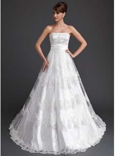 Ball-Gown Strapless Chapel Train Satin Lace Wedding Dress With Beadwork Sequins