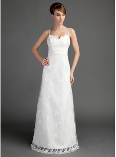 A-Line/Princess Sweetheart Floor-Length Satin Lace Wedding Dress With Ruffle Beadwork