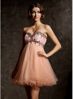 Empire Sweetheart Short/Mini Taffeta Tulle Homecoming Dress With Ruffle Beading (022008996)