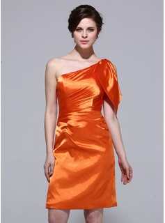 Sheath One-Shoulder Knee-Length Charmeuse Bridesmaid Dress With Ruffle