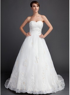 Ball-Gown Sweetheart Court Train Organza Wedding Dress With Ruffle Beading Appliques Lace Sequins