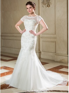 Mermaid Scoop Neck Court Train Tulle Wedding Dress With Lace Sequins