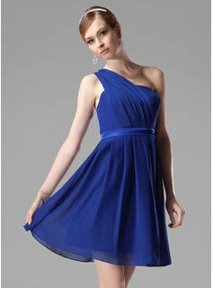 A-Line/Princess One-Shoulder Short/Mini Chiffon Charmeuse Bridesmaid Dress With Ruffle
