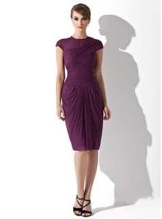 Sheath Scoop Neck Knee-Length Chiffon Cocktail Dress With Ruffle