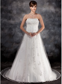 Empire Strapless Watteau Train Tulle Charmeuse Wedding Dress With Lace Beadwork