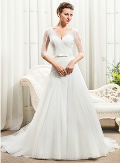 A-Line/Princess V-neck Court Train Tulle Charmeuse Lace Wedding Dress With Bow(s)
