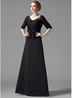 A-Line/Princess V-neck Floor-Length Satin Lace Mother of the Bride Dress With Beading Bow(s)
